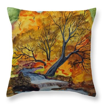 Throw Pillow featuring the painting Woodland Falls by Jack G  Brauer