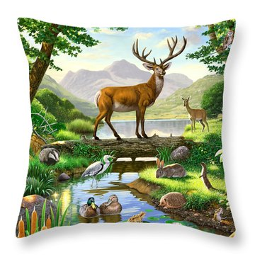 Woodland Harmony Throw Pillow by Chris Heitt