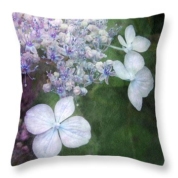 Woodland Hydrangea In Blue Throw Pillow