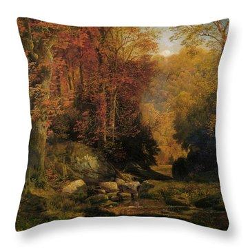 Woodland Interior Throw Pillow by Thomas Moran