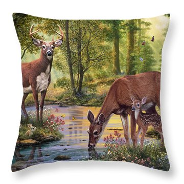 Woodland Stream Throw Pillow by Steve Read
