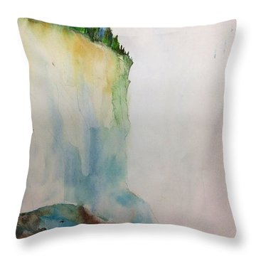 Woodland Trees On A Cliff Edge Throw Pillow