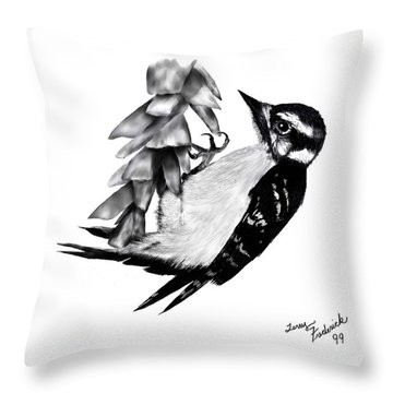 Throw Pillow featuring the drawing Woodpecker by Terry Frederick