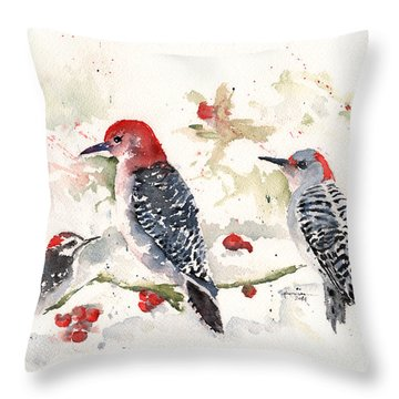 Woodpeckers In The Snow Throw Pillow