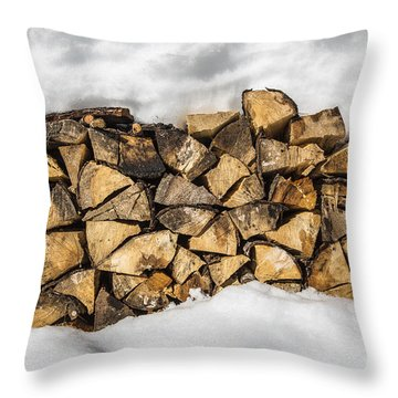 Woodpile Throw Pillow by Maurizio Bacciarini