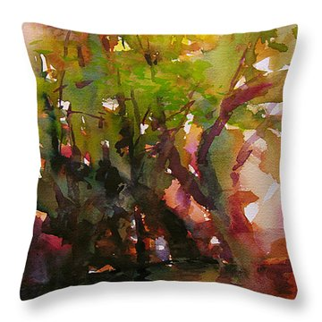 Woods And Creek Watercolor Throw Pillow by Julianne Felton