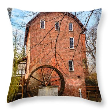 Wood's Grist Mill In Northwest Indiana Throw Pillow by Paul Velgos