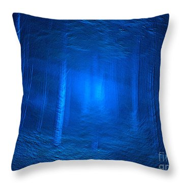 Woods In Blues Throw Pillow by Deborah DeLaBarre
