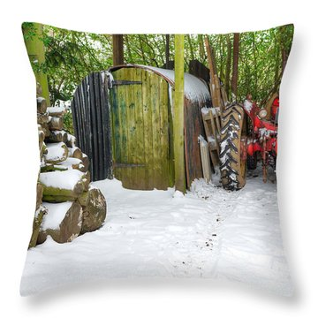 Woodshed In Winter Throw Pillow by David Birchall