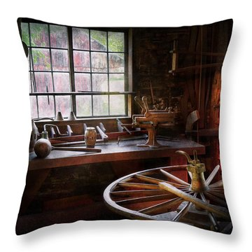 Woodworker - The Wheelwright Shop  Throw Pillow by Mike Savad