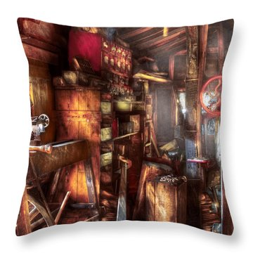 Woodworker - The Workshop Of A Very Busy Person Throw Pillow by Mike Savad