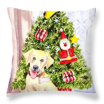 Woof Merry Christmas Throw Pillow by Irina Sztukowski
