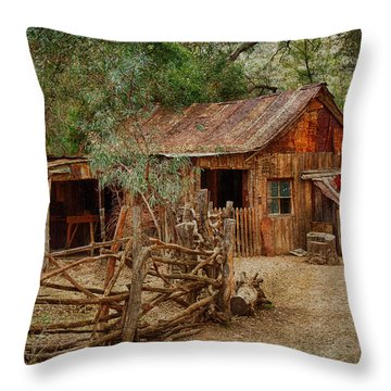 Wool Shed Throw Pillow by Fred Larson