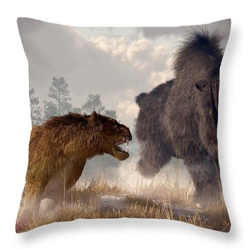 Woolly Rhino And Cave Lion Throw Pillow by Daniel Eskridge