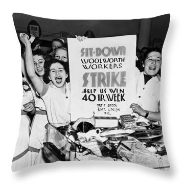 Woolworth Workers Strike Throw Pillow by Underwood Archives