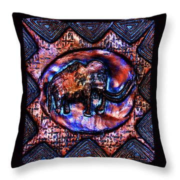 Wooly Mammoth Cave Art Throw Pillow