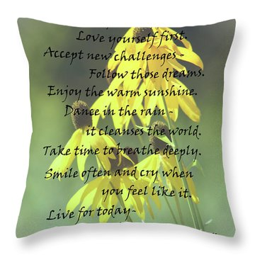 Words For My Teen Throw Pillow by Cathy  Beharriell