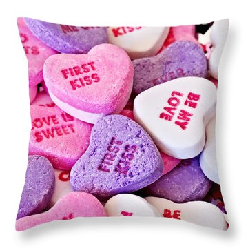 Throw Pillow featuring the photograph Valentine Candy Hearts by Vizual Studio