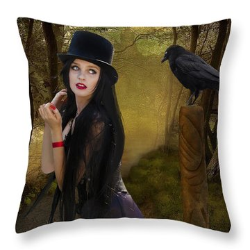 Words Of The Crow Throw Pillow by Linda Lees