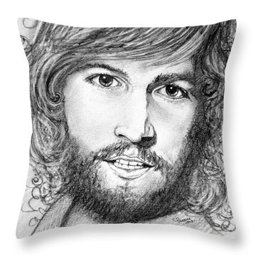 Throw Pillow featuring the drawing Barry Gibb  by Patrice Torrillo