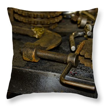 Work Bench Rusty Tools And Motorcycle Sprockets  Throw Pillow by Wilma  Birdwell