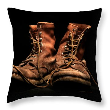 Work Boots Throw Pillow
