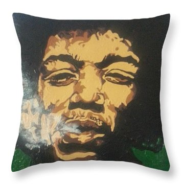 Jimi Hendrix Throw Pillow by Rachel Natalie Rawlins