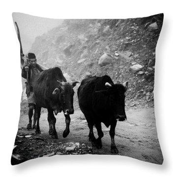 Work Hard Tamang People Langtang Nepal Throw Pillow