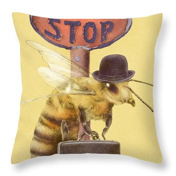 Worker Bee Yellow Option Throw Pillow