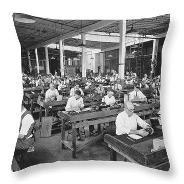 Workers Assembling Cine-kodaks Throw Pillow