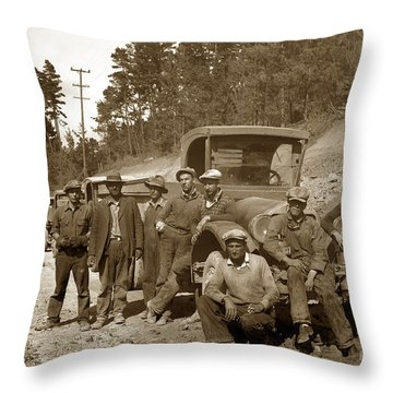 Workers On Highway One Monterey Carmel Hill California 1929 Throw Pillow