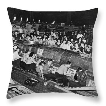 Workers Sign 5,000th B-17 Throw Pillow
