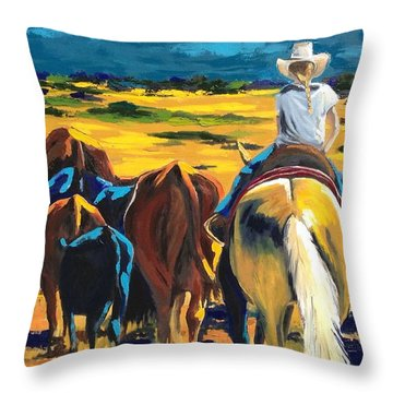 Working Girl Throw Pillow