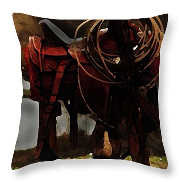 Working Man's Saddle Throw Pillow