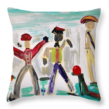 Throw Pillow featuring the painting Working by Mary Carol Williams