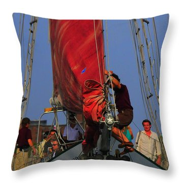 Working The Sails Throw Pillow by Kathleen Struckle