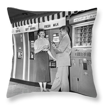 Workplace Snack Break Throw Pillow by Underwood Archives