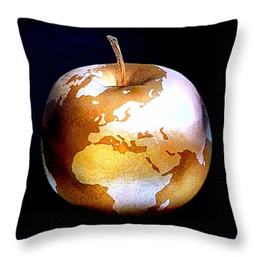 World Apple Throw Pillow by The Creative Minds Art and Photography