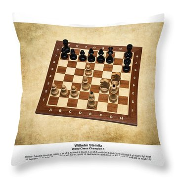 World Chess Champions - Wilhelm Steinitz - 1 Throw Pillow by Alexander Senin