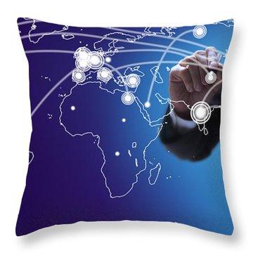 World Economies Map Throw Pillow by Atiketta Sangasaeng