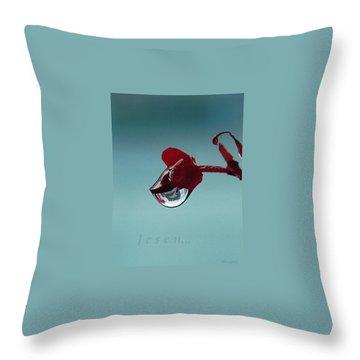 World In A Drop Throw Pillow by Marija Djedovic