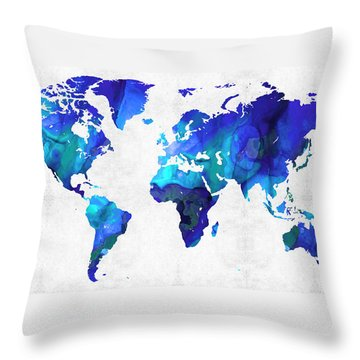 Throw Pillow featuring the painting World Map 17 - Blue Art By Sharon Cummings by Sharon Cummings