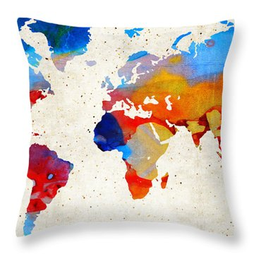 World Map 18 - Colorful Art By Sharon Cummings Throw Pillow