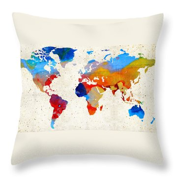 World Map 18 - Colorful Art By Sharon Cummings Throw Pillow by Sharon Cummings