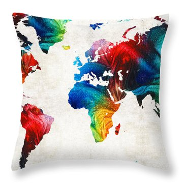 World Map 19 - Colorful Art By Sharon Cummings Throw Pillow