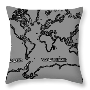 World Map Abstract Black And Grey Throw Pillow by Eti Reid