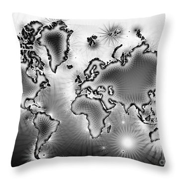 World Map Amuza In Black And White Throw Pillow by Eleven Corners