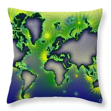 World Map Amuza In Blue Yellow And Green Throw Pillow by Eleven Corners