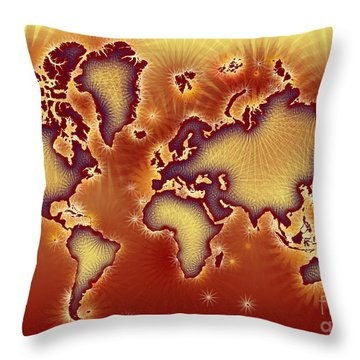 World Map Amuza In Red And Yellow Throw Pillow by Eleven Corners