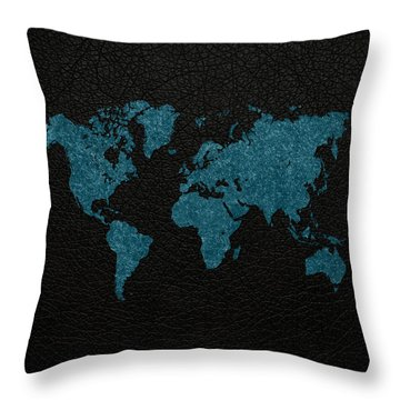 World Map Blue Vintage Fabric On Black Leather Throw Pillow